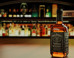 3D model glass Jack Daniels Whiskey