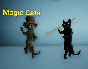 Magic Cats 55 Animations with Props Wizard RPG 3D model 1