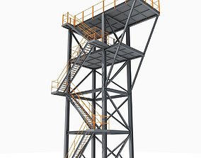 Yellow Stair Industrial Tower 05 3D model