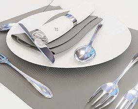 Dinnerware Set spoons folk and knives 3D