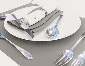 Dinnerware Set spoons folk and knives 3D