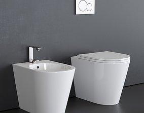 3D asset Alice Ceramica Icon Round bidet and toilet