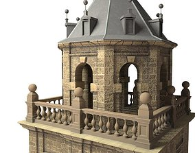 Tower architectural 3D model low-poly