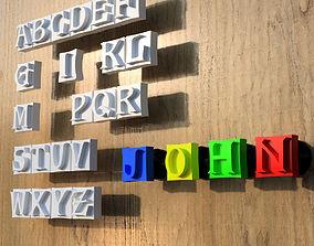 Alphabet patere Hook-peg for writing on 3D print model 1
