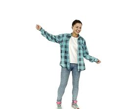 Happy Dancing Teenager Wearing blue Shirt 3D model