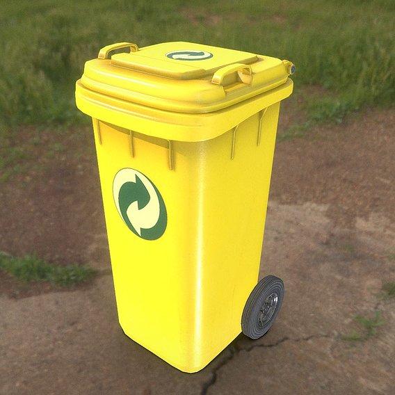Yellow Plastic Waste Bin 120 Liters 936x550x482