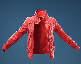 Light Brown Leather Jacket Open 3D
