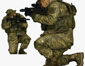 modern soldier aiming on knee honeybadger 001151 3D