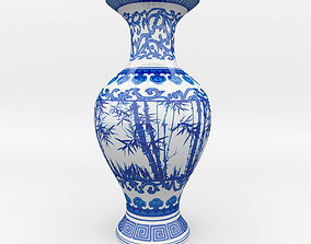 Chinese Blue and White Porcelain Vase 3D