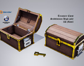 Subdivision High-Poly Treasure Chest 3D model