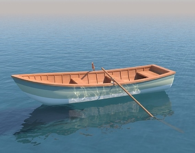 Wooden Rowboat For Fishing And Trip 3D asset