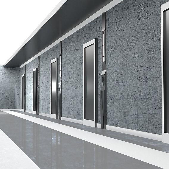 Gray modern corridor VR / AR / low-poly 3D model