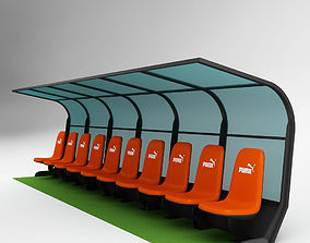 3D model Soccer Bench for Coach Reserve Players 02