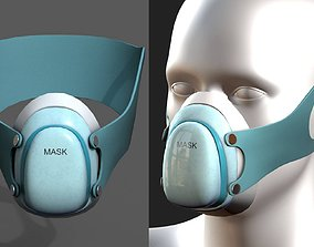 3D model Gas mask protection respirator military combat