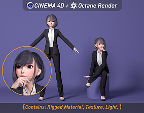 Girl in a suit 3D asset