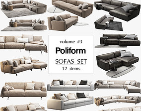 3D model Poliform 12 sofas set