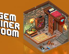 Voxel Gem Miner Room 3D model