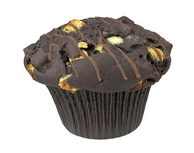 Photorealistic Chocolate Muffin 3D Scan