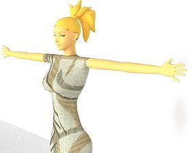 3D asset animated LOW-POLY WOMEN CHARACTER