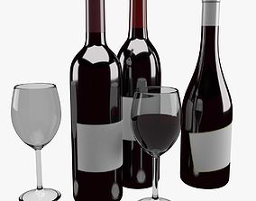 3D Wine Bottle and Glass