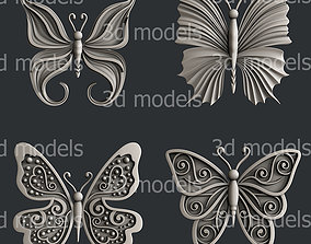 3d STL models for CNC router or 3d printer set butterfly