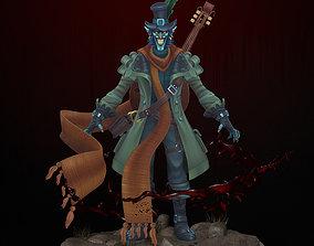 Instrumentalist clown 3D model low-poly
