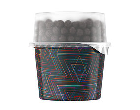 dessert 3D model yoghurt and chocolate balls