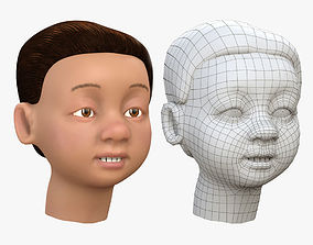 Kid Head Textured 3D Model game-ready
