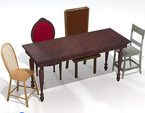 3D model table and chairs 01