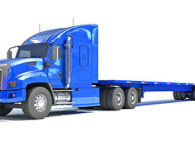 Truck with Flatbed Trailer heavy 3D