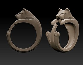 stylized panther ring 3D printable model