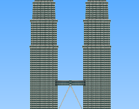 Petronas twin tower Malaysia lowpoly 3d model low-poly