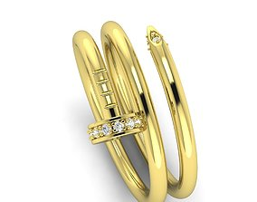 Cartier nail ring 3D print model kolco
