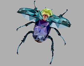 Firefly Rhinoceros Beetle Low Polygon Art Insect 3D model