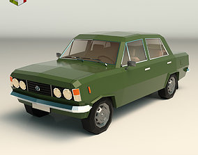 3D asset Low Poly Sedan Car 11