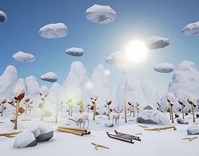 3D asset Low Poly Winter Landscape Full Packs