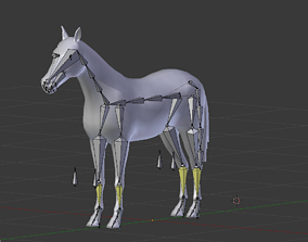 3D asset rigged Horse Lowpoly