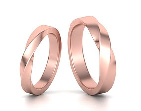 wedding-band Mobius rings 3mm and 4mm width 3dmodels
