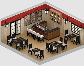 Japanese Restaurant 3D asset low-poly