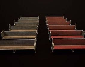 3D asset Game Ready Wooden Church Pews Set