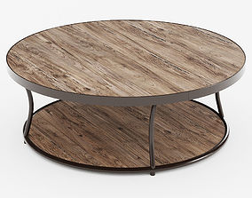 3D model Bentley Round Elm and Iron Coffee Table