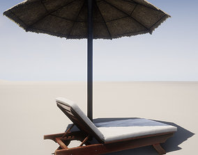 3D model Beach lounger and umbrella