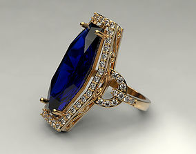 design 3D print model Ring with big gem 2