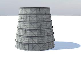 Soviet old cooling tower 3D model realtime