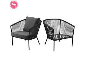 Corda Slate Gray Lounge Chair 3D asset VR / AR ready