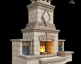 Outdoor Fireplace 001 3D