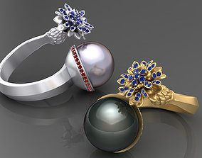 Ring with Iris and Pear 3D printable model gold-ring