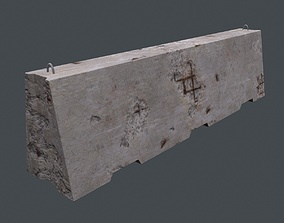 3D model realtime fence Concrete barrier