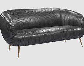 3D model Souffle settee ruched leather onyx Kelly
