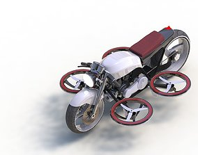 animated FLYING MOTORCYCLE LOW-POLY DETAILED 3D MODEL